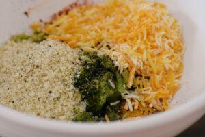 Making broccoli cheese bites