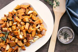 sweet potatoes with fresh herbs