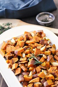 Roasted sweet potatoes with fresh herbs