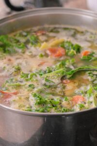 making tuscan kale soup
