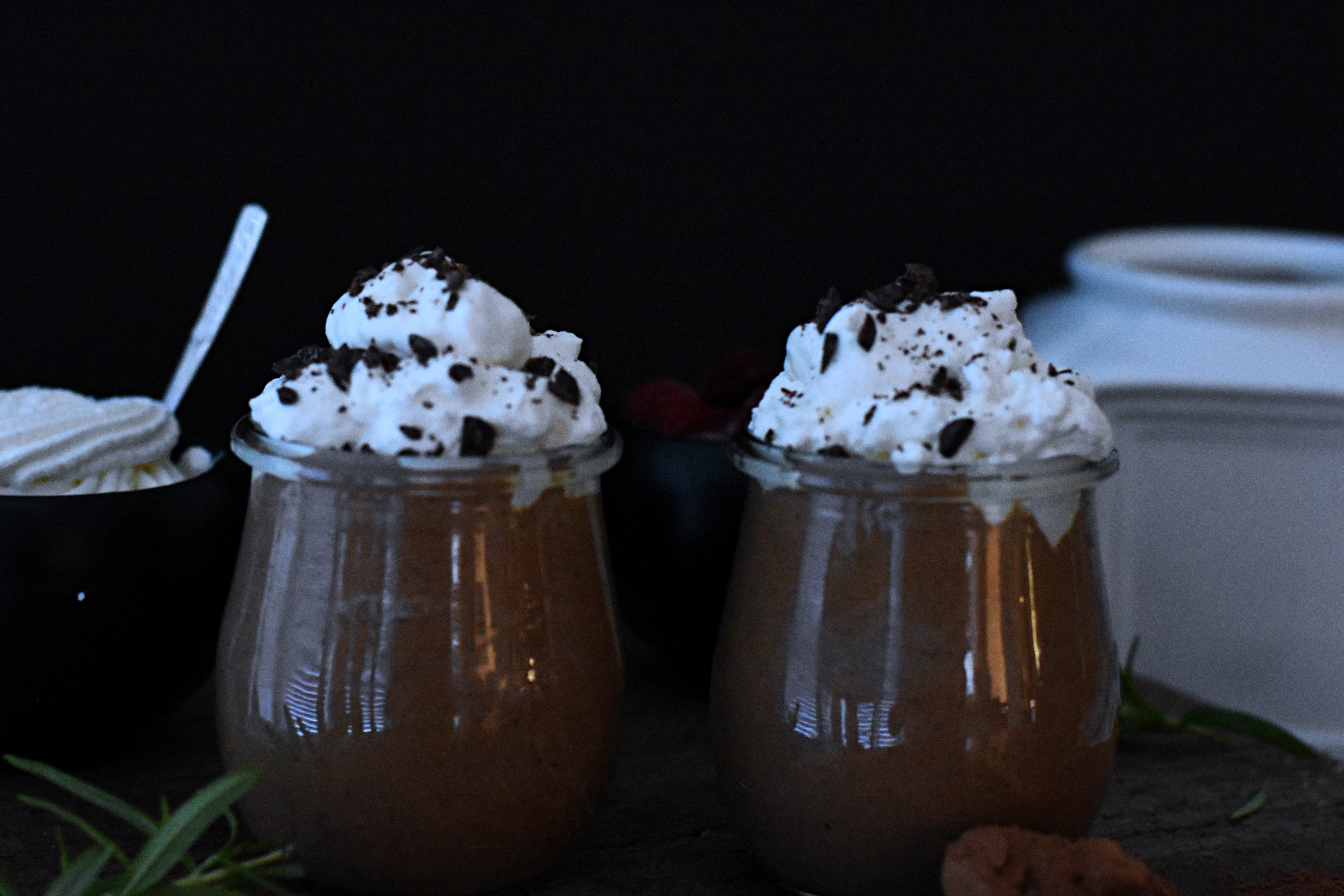 Chocolate mousse with homemade whipped cream