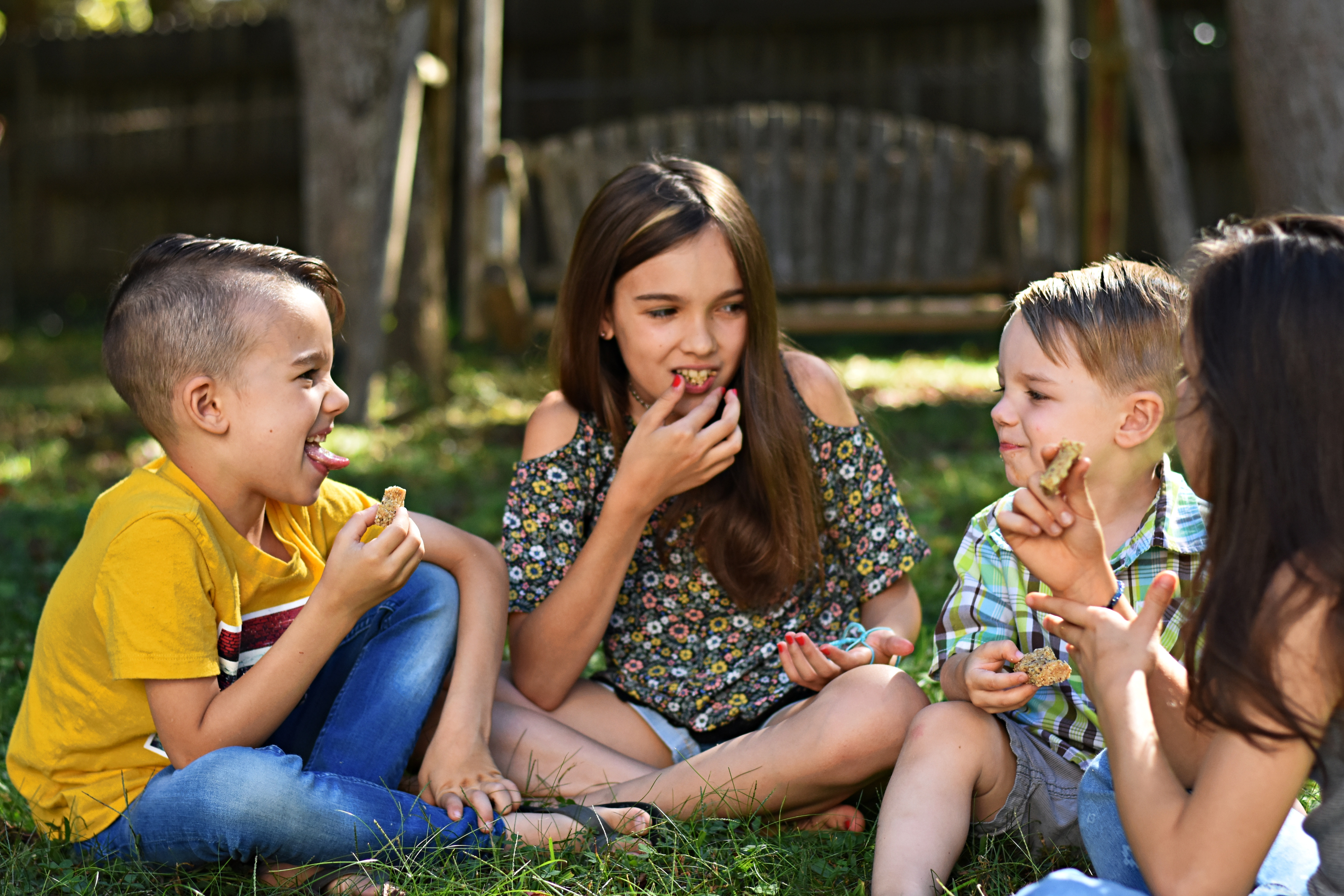 kids eating Easy Raw Protein Granola bars