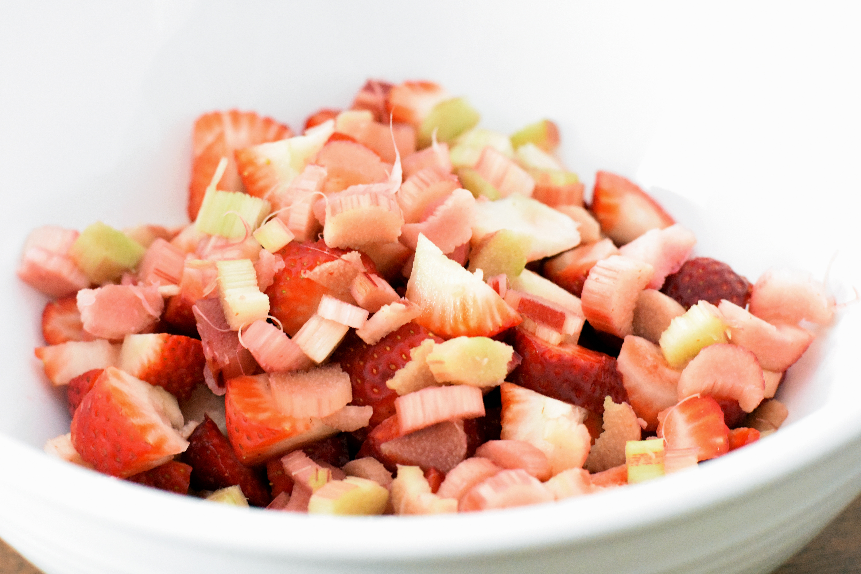 Making strawberry rhubarb pie
