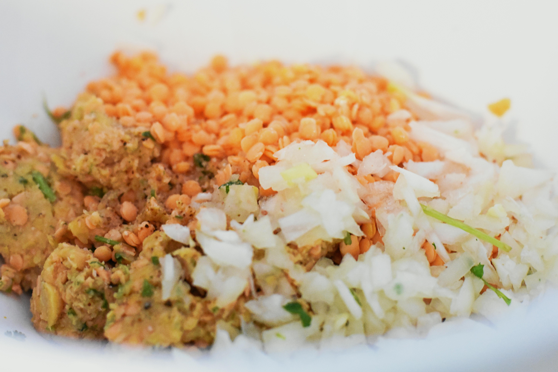 making lentil fritters