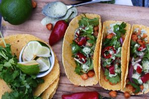 Chickpea Tacos with Cilantro Lime Crema