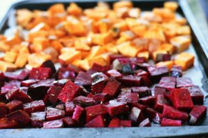 roasting beets and sweet potato