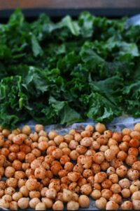 roasted kale and chickpeas