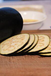 Making eggplant sandwiches