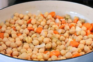 making chickpea curry