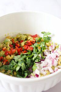 making chickpea salad