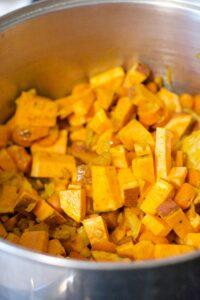 making sweet potato stew